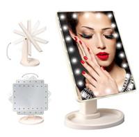 Hot 360 Degrés Rotation Écran Tactile Maquillage Miroir Pliant Pliable Portable Poche Compact Avec 16/22 LED Lumières Maquillage Outil Dhl Expédition