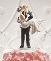 Playa elegante boda pastel de novia toppers blanco abrazo romántico pareja decoración mejor venta envío gratis