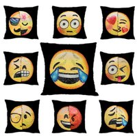 New Double Color Emoji Sequins Pillow Case Fashion Face Expr...