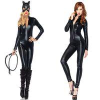 جنسي الملابس الداخلية اللاتكس البلاستيكية والجلود بذلة مثير زي أسود النساء catsuit clubwear ارتداءها القطب الرقص الملابس