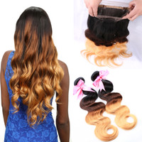 Ombre 360 Lace Frontal Closure With Human Hair Bundles T1b 4...