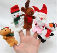 Navidad Finger Puppets Toy Santa Claus 7cm 5 diseños Family Doll Baby Stories Helper envío gratis