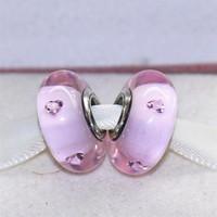 5 قطع s925 فضة الخيوط برغي الوردي قلوب زجاج مورانو الخرز صالح باندورا سحر مجوهرات أساور القلائد