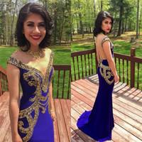 Royal azul Sexy ouro frisado cristais vestidos de baile Custom Made 2019 pura ilusão corpete Sereia noite vestidos Cap mangas de baile vestido longo