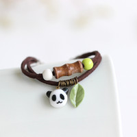 Atacado-novo Chegada artesanal panda exclusivo pulseiras cerâmicas pulseiras moda fita elegante jóias para as mulheres