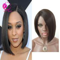 Высокое качество 130Density прямой короткий боб Wig100% Virgin бразильский полный парик шнурка Glueless короткие человеческие волосы кружева фронт парик для чернокожих женщин