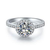Anillos de bodas de plata esterlina femenina 0.5ct redonda NSCD anillo de diamante simulado para mujeres de compromiso Joyería de compromiso 18k chapado en oro blanco con caja