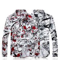 بالجملة، الرجال القميص 2016 أزياء الرجال الجديد مطبوعة زهري قميص طويل الأكمام الرجال اللباس قميص القميص عادية الاجتماعية Camisa الغمد 5XL
