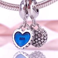 Jóias diy 925 grânulos de prata esterlina mãe filho oscila pandora charme serve pulseiras estilo europeu jóias colar 791152EN08
