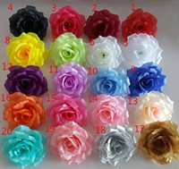 10cm 20colors Artificial fabric silk rose flower head diy de...