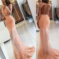 Sirène bateau dos ouvert Perle Rose Tulle robe de bal avec appliques manches Applique dentelle sirène robe de soirée robe de bal