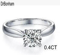 Classic 0. 4ct S925 silver wedding Anel Ring 18K real white g...
