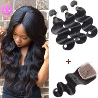 Brazilian Hair Weave With Closure 3pcs Hair Bundles With Lac...