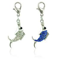 Jinglang الأزياء الحيوانات المشبك جراد البحر سحر استرخى حجر الراين الأسماك المعلقات diy سحر لصنع المجوهرات الملحقات