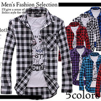 Plus Size Male Leisure Tops Mens Casual Plaid Shirts Long Sl...