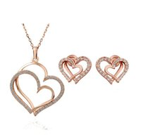 Fashion Crystal Heart Jewelry Sets Top Quality 2 Colors Wome...