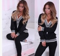 hot sale women tracksuits sport suits sexy deep v- neck Hit c...
