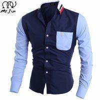 도매 - MR.JIM 2016 새로운 도착 남자 셔츠 패턴 디자인 긴 소매 꽃 인쇄 슬림 맞는 남자 캐주얼 셔츠 패션 남자 드레스 셔츠