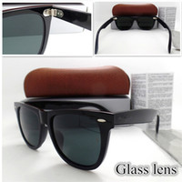 Yüksek Kaliteli Cam Lens Metal Menteşe 54mm Moda Erkekler Kadınlar Tahta Çerçeve Güneş Gözlüğü Spor Vintage Güneş Gözlükleri Kutusu