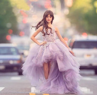 Cute Lilac High Low Flower Girl Dresses Tulle Layered Puff G...
