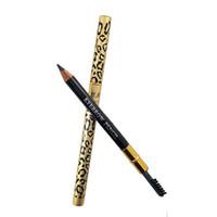 Gute Qualität Mode Leopard Eyeliner Bleistift Mit Augenbraue Pinsel Kamm Metall Gehobenen Eyeliner Frauen Augen Schönheit Stift