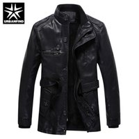 Wholesale- Brand Fashion Men PU Leather Jackets Size M- 3XL B...