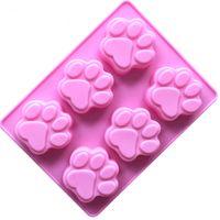 6 pçs / set molde 3d sugarcraft molde bolo fondant de chocolate cat dog paw decoração diy pudim de bolinho sabão molde de silicone