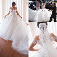 Романтические Белые Кружевные Тюль Свадебные Платья 2017 Sexy Sheer Off плечи Аппликации Пригородный Поезд Свадебные Платья На Заказ Богемный