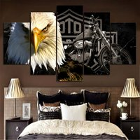 Eagles motorcycle Painting Canvas Print room decor High qual...