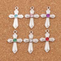 Espada de cristal Dots Cross Charms 120 unids / lote 6 colores plateado plata 16x26mm colgantes joyería moda Fit pulseras collar pendientes L1554