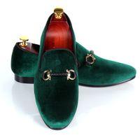 Harpelunde Düğün Ayakkabı Mens Toka Askı Elbise Ayakkabı Kırmızı Alt Yeşil El Yapımı Kadife Loafer'lar Deri Astar Ücretsiz Drop Shipping Boyutu 7-14