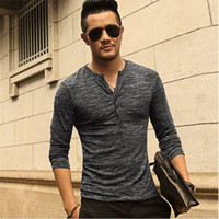 Nueva camiseta Henley para hombre 2016 nueva camiseta Tops Manga larga Elegante Slim Fit T-shirt Button placket Casual hombres Outwears Popular Design