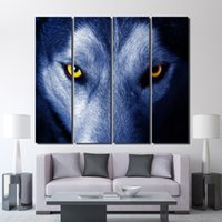 4 piece canvas painting animal wolf eyes wall decorations li...