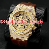 Full iced out quartz chronograph full works watch mens brand...