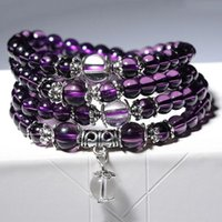 Bangles For Unisex Women Men Buddhist Prayer Amethyst Crysta...