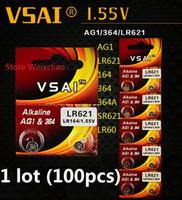 100pcs 1 lot AG1 LR621 164 364 364A SR621 LR60 1.55V pile bouton alcaline pile de la batterie piles VSAI Livraison gratuite