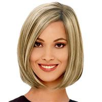 Ucuz Kısa Bob Peruk Düz Sentetik Saç Peruk Orta Yan Bang Peruk Kadınlar Için Ombre Sarışın Kahverengi Ücretsiz Saç Net