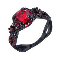 Victoria Wieck Retro Cool Jewelry 10kt Black Gold Filled Ruby Simulato Diamond Pietre preziose Wedding Engagement Women Band Round Ring Size5-11