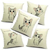 Cat Kissenbezug 9 Styles 45x45cm Baumwolle Leinen Katzen-Muster Kissenbezug Thick Dekokissen Fall für Home Office Sofa