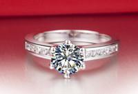 빠른 무료 배송 1 CT SONA 합성 다이아몬드 스타 925 스털링 실버 결혼 반지 18K 화이트 골드 도금 여성 반지 도매 선물 반지