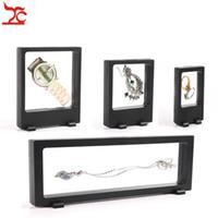 Spedizione gratuita 4 pezzi nero trasparente finestra caso sospensione multifunzionale gioielli orecchino braccialetto collana di perline anello pet display stand
