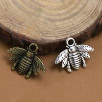 Gorąco ! Darmowa Wysyłka 150 sztuk Antique Srebrny / Brązowy Stop Cynkowy Piękny Bee Charm Wisiorek 16x21mm