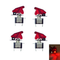 4 قطع 12 فولت سيارة الأحمر الصمام ضوء مضيئة غطاء SPST تبديل تبديل التحكم B00387