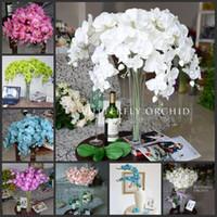 """90 cm / 35 """"Longitud Elegante Artificial Phalaenopsis Flores Mariposa Orquídea Ramo Para Navidad Adorno de Casa Decoraciones Del Partido suministros"""