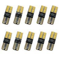 100 unids / lote 12V 24V Sin polarity CANBUS T10 LED bombillas con 4014SMD 24 LED LED Luz Interior W5W Lámpara LED Azul Ningún error