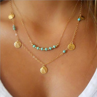 Women Chain Choker Necklace Multilayer Wafer Turquoise Penda...