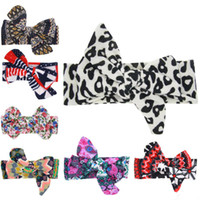 Baby Headbands Big Bow Girls Floral Print Cotton Knotted Hai...