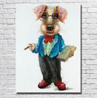 Чистые ручные потрясенные современные ABCTRACT животных искусства живописи животных собака, на высоком качестве холста для домашнего декора стен несколько размеров