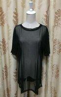 إمرأة انظر من خلال شير كم مش قصيرة T قميص كبير جدا بلايز أسود