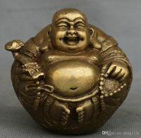 Chinesisches reines kupfernes glückliches Lachen Maitreya Buddha Ruyi Yuanbao Wealth Coins Statue